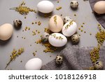 eggs with flowers and... | Shutterstock . vector #1018126918