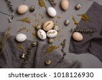 eggs with flowers and... | Shutterstock . vector #1018126930