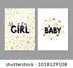 vector set of baby shower cards.... | Shutterstock .eps vector #1018129108