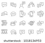 simple set of chat related... | Shutterstock .eps vector #1018136953