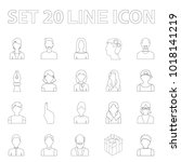 avatar and face outline icons... | Shutterstock . vector #1018141219