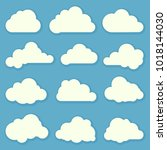 flat design cloud shapes ... | Shutterstock .eps vector #1018144030