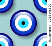 amulet seamless pattern  blue... | Shutterstock .eps vector #1018146520