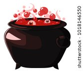 witches cauldron with red blood ... | Shutterstock .eps vector #1018146550