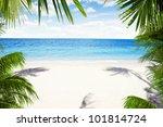 view of nice tropical  beach ... | Shutterstock . vector #101814724