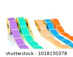 white and colored label rolls... | Shutterstock . vector #1018150378