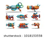 Set of cartoon retro space blasters, ray guns, laser weapons isolated on white background. Vector illustration.