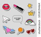 set of trendy stickers | Shutterstock .eps vector #1018154464