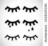 simple eye lashes icon set... | Shutterstock .eps vector #1018155100