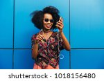 gorgeous happy afro american... | Shutterstock . vector #1018156480