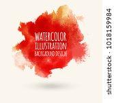 watercolor red orange pant... | Shutterstock .eps vector #1018159984