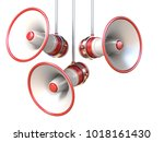three red and white megaphones... | Shutterstock . vector #1018161430