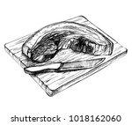 sketch fresh raw pork piece.... | Shutterstock .eps vector #1018162060