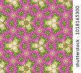 green pink  floral mosaic... | Shutterstock . vector #1018165300