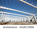 the steel frame structure is... | Shutterstock . vector #1018172806