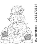 doodle coloring book page three ...   Shutterstock .eps vector #1018173814