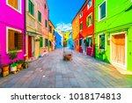venice landmark  burano island... | Shutterstock . vector #1018174813