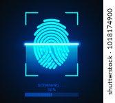 finger print scanning... | Shutterstock .eps vector #1018174900