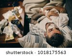 young man recovering form... | Shutterstock . vector #1018175563