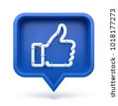 Set Thumbs Up Icon On A Blue...