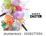 painting easter eggs vector... | Shutterstock .eps vector #1018177354