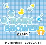 baby shower   cute card for boy | Shutterstock .eps vector #101817754