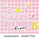 baby shower   cute card for girl | Shutterstock .eps vector #101817763