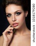 portrait of young beautiful...   Shutterstock . vector #1018179280
