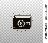 wallet with bitcoin sign   flat ... | Shutterstock .eps vector #1018180384