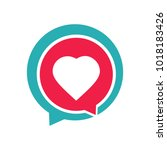 heart love icon and chat logo... | Shutterstock .eps vector #1018183426