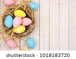 springtime nest with pink ... | Shutterstock . vector #1018183720