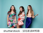glamoures and fashionable women ... | Shutterstock . vector #1018184908