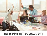 casual colleagues doing high... | Shutterstock . vector #1018187194