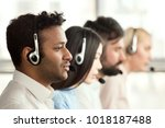 black call center operator with ... | Shutterstock . vector #1018187488