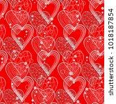hearts patternon in dooodle... | Shutterstock .eps vector #1018187854