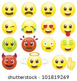 emoticons icon set smiles | Shutterstock .eps vector #101819269