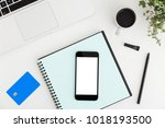 black smartphone mock up during ... | Shutterstock . vector #1018193500