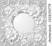 beautiful vintage round frame... | Shutterstock .eps vector #1018193779
