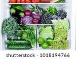 opened refrigerator full of...   Shutterstock . vector #1018194766