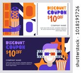 Vector cinema discount coupon or voucher template. Design elements for movie flyer, entrance ticket or banner. Man in 3d glasses and popcorn illustration. Entertainment concept.