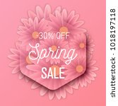 hello spring text  floral... | Shutterstock .eps vector #1018197118