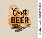 craft beer poster. alcohol menu ... | Shutterstock .eps vector #1018199320
