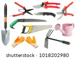 variety of garden tools... | Shutterstock . vector #1018202980