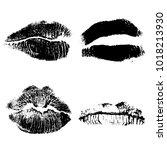 set of lips or lip shaped women ... | Shutterstock .eps vector #1018213930