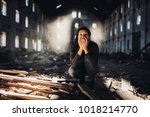 sad depressed person in... | Shutterstock . vector #1018214770