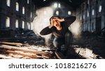 sad depressed person in... | Shutterstock . vector #1018216276