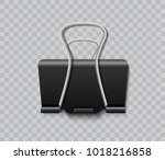 black paper clip isolated on... | Shutterstock .eps vector #1018216858