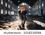 sad depressed person in... | Shutterstock . vector #1018218586