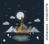 vector space landscape rocket... | Shutterstock .eps vector #1018220578