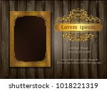 beautiful golden frame placed... | Shutterstock .eps vector #1018221319